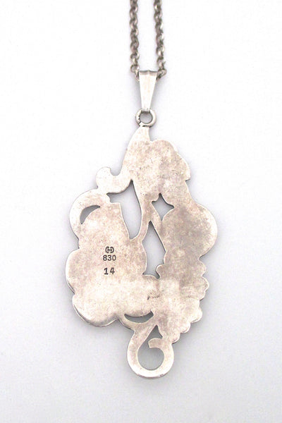 Carl M Cohr large silver 'leaves & berries' pendant necklace