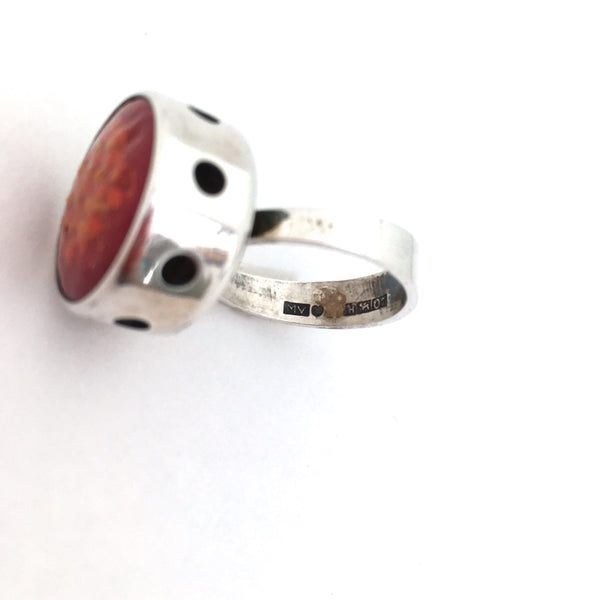 Martti Viikinniemi large silver and enamel ring ~ red, orange & yellow