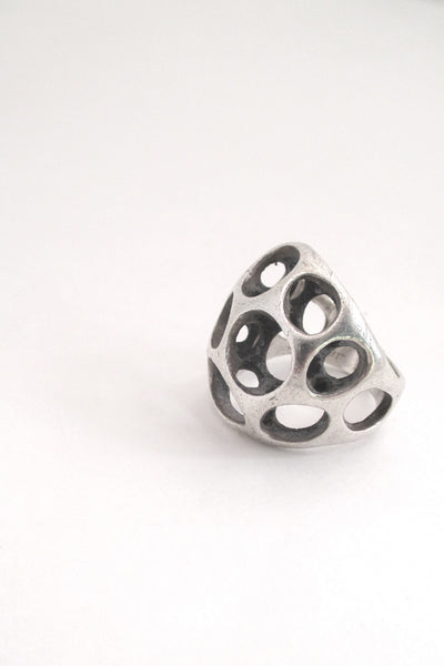 profile Sterling silver cast sculptural ring by American Modernist jeweller Henry Steig