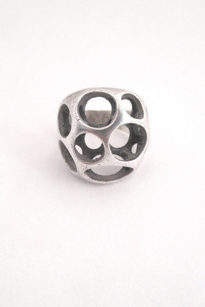 detail Sterling silver cast sculptural ring by American Modernist jeweller Henry Steig