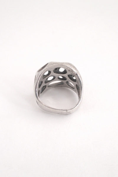 Henry Steig cast silver pierced sculptural ring