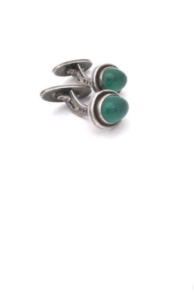 detil Georg Jensen Denmark vintage silver and chrysoprase cufflinks 44B by Harald Nielsen