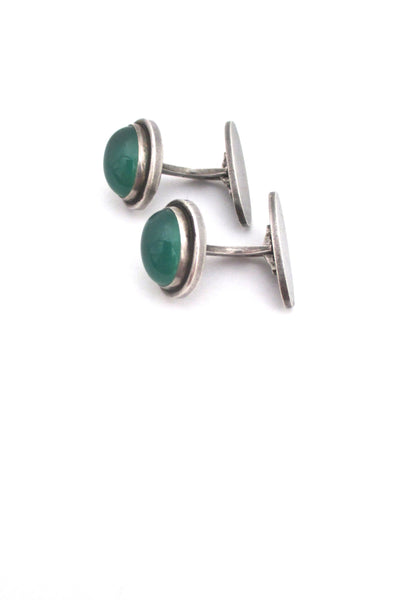 profile Georg Jensen Denmark vintage silver and chrysoprase cufflinks 44B by Harald Nielsen