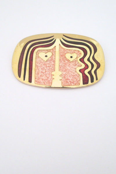 de Passille Sylvestre 'the kiss' enamel brooch