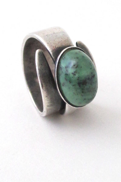 David-Andersen Norway vintage modernist silver amazonite wrap ring