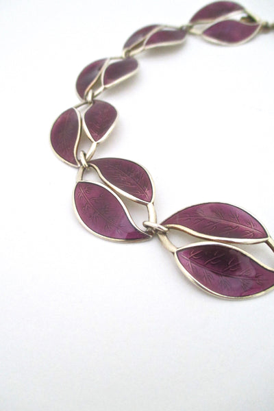 detail David Andersen Norway vintage silver and enamel twin leaf necklace by Willy Winnaess