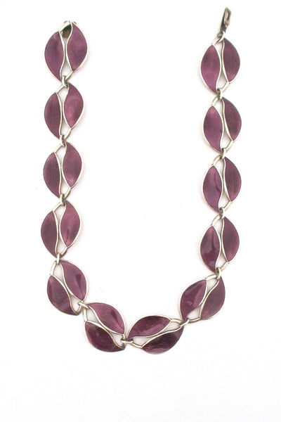 David Andersen purple enamel twin leaf necklace