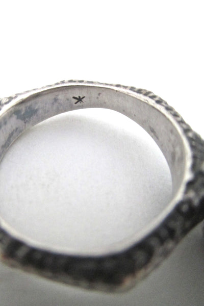 brutalist organic silver sculptural ring