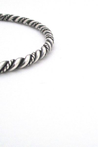 detail Just Andersen Denmark vintage twisted silver bangle bracelet