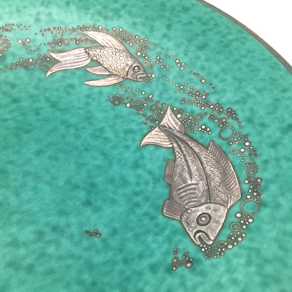 decoration detail Gustavsberg Sweden large vintage ceramic Argenta charger dish by Wilhelm Kage