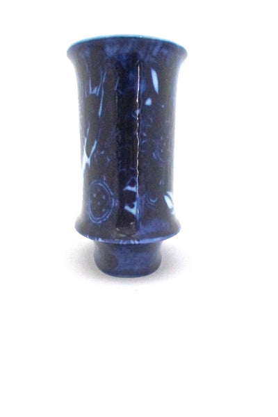 profile Rosenthal Germany vintage cobalt blue bird vase by Bjorn Wiinblad