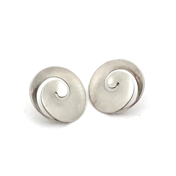 profile Georg Jensen Denmark vintage silver swirl earrings 371B by Vivianna Torun large Scandinavian Modern design