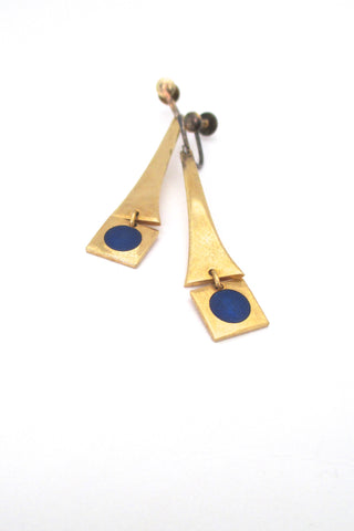 de Passille Sylvestre Canada vintage enamel blue dot drop earrings