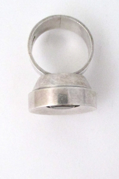 Elis Kauppi for Kupittaan Kulta Finland Modernist silver & smoky quartz ring at Samantha Howard Vintage