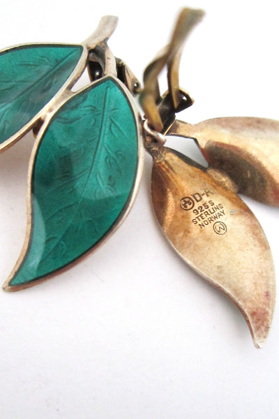 David-Andersen green leaf earrings