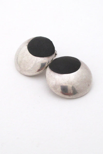 Jens Asby Denmark vintage modernist sterling silver rosewood earrings