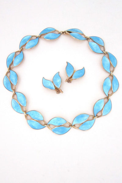 David-Andersen sky blue leaf necklace