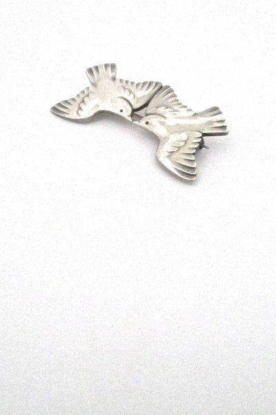dertail Georg Jensen Denmark vintage silver two swallows bird brooch 316A
