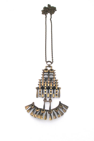 Pentti Sarpaneva kinetic bronze 'owl' necklace - large