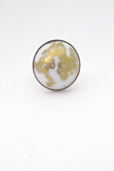 Porsgrund gold decorated porcelain ring