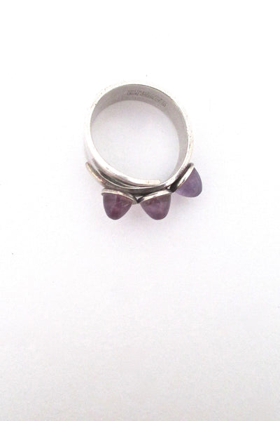 David-Andersen silver & triple amethyst ring