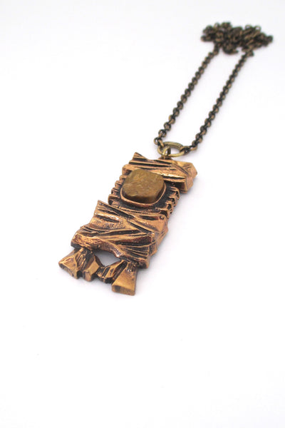 Pentti Sarpaneva bronze & tiger eye necklace
