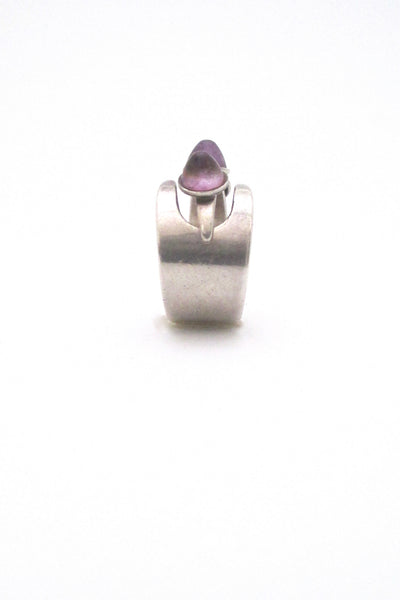 detail David Andersen Norway vintage Modernist silver amethyst adjustable ring