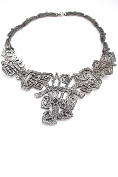 Guy Vidal large 'squared spirals' bib necklace