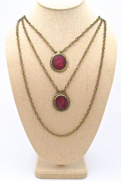 Rafael Canada triple strand, double stone pink necklace