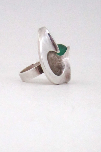 Matti Hyvarinen Finland vintage sterling silver & chrysoprase huge sculptural ring
