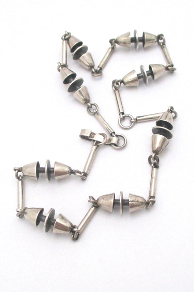 detail vintage heavy silver constructivist long link chain necklace mid century design