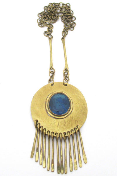 Rafael Alfandary Canada vintage brutalist brass and aqua glass long fringe necklace
