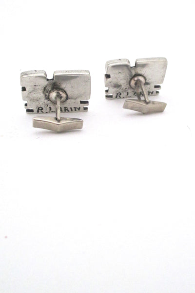 Robert Larin large brutalist cufflinks & tie tack #1 ~ original box