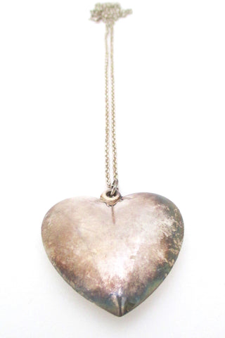 vintage Finland sterling silver large heart pendant neccklace