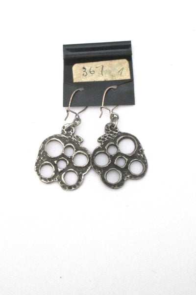 Robert Larin brutalist pewter drop earrings #367 on original card