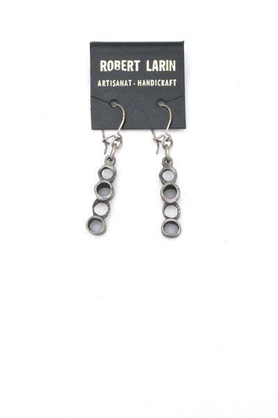 Robert Larin brutalist pewter drop earrings #378 ~ on original card