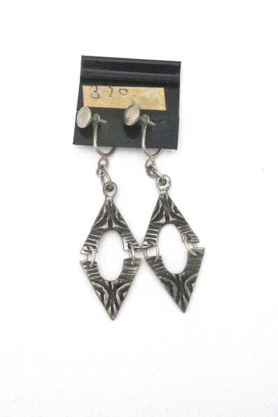 detail Robert Larin brutalist pewter drop earrings #370 ~ on original card