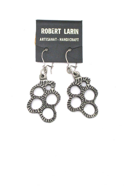 Robert Larin brutalist pewter drop earrings #369 ~ on original card