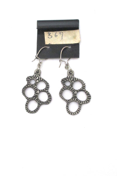 detail Robert Larin Canada vintage brutalist pewter drop earrings 369
