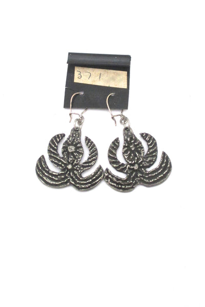 detail Robert Larin Canada vintage brutalist pewter drop earrings 371