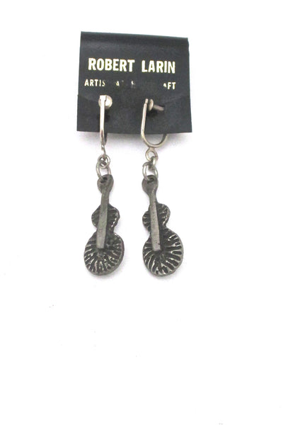 detail Robert Larin Canada vintage brutalist pewter drop earrings