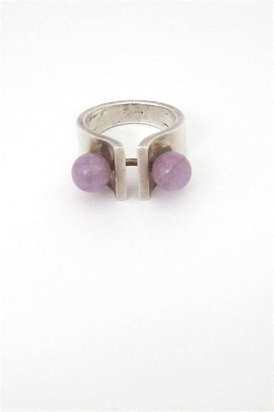 Hans Hansen Denmark vintage sterling and amethyst ring