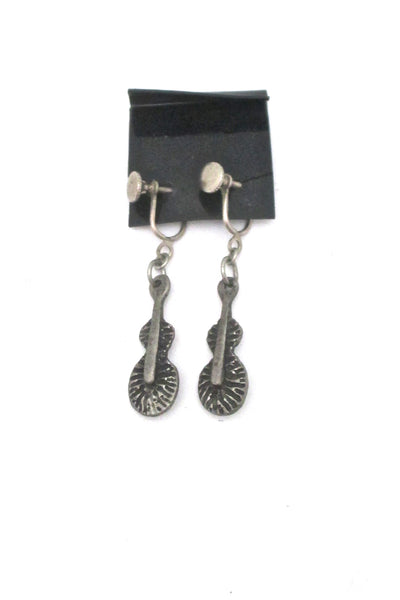 Robert Larin brutalist pewter drop earrings ~ on original card