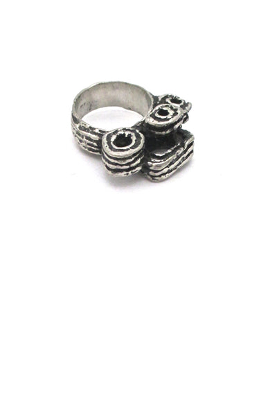 Robert Larin Canada vintage brutalist pewter large curlicues ring