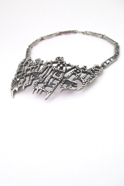 profile Guy Vidal Canada large vintage brutalist pewter bib necklace