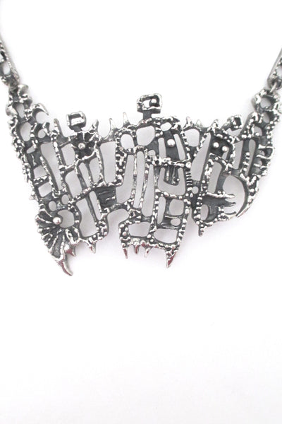 detail Guy Vidal Canada large vintage brutalist pewter bib necklace
