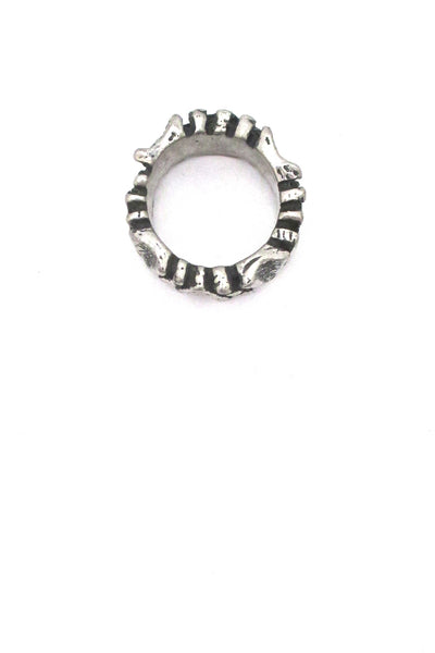 Robert Larin brutalist pewter 'dots' band ring