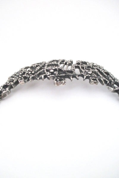 Guy Vidal large brutalist pewter curved bib necklace