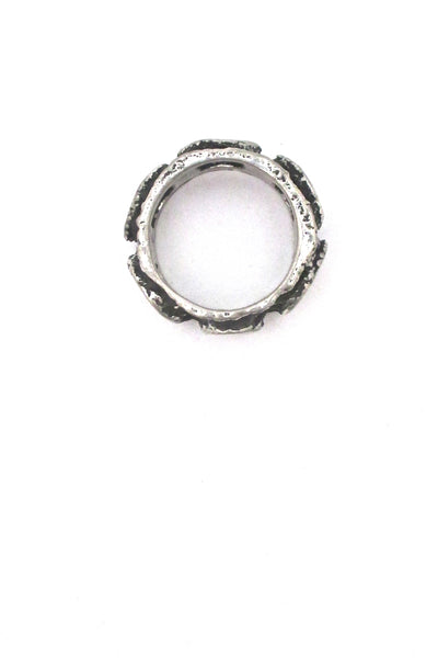 Robert Larin brutalist pewter openwork band ring