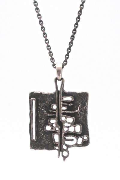 detail Guy Vidal Canada vintage brutalist pewter large openwork pendant necklace